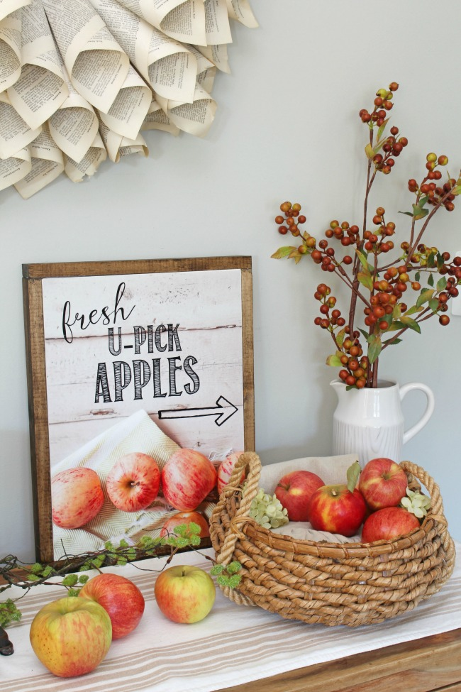 U-pick apples free fall printable turned into a wood framed canvas.