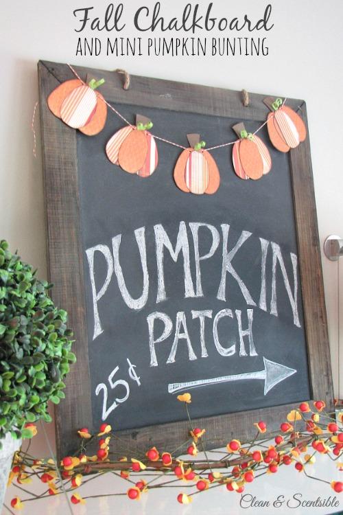 Love this fall chalkboard and mini pumpkin bunting!