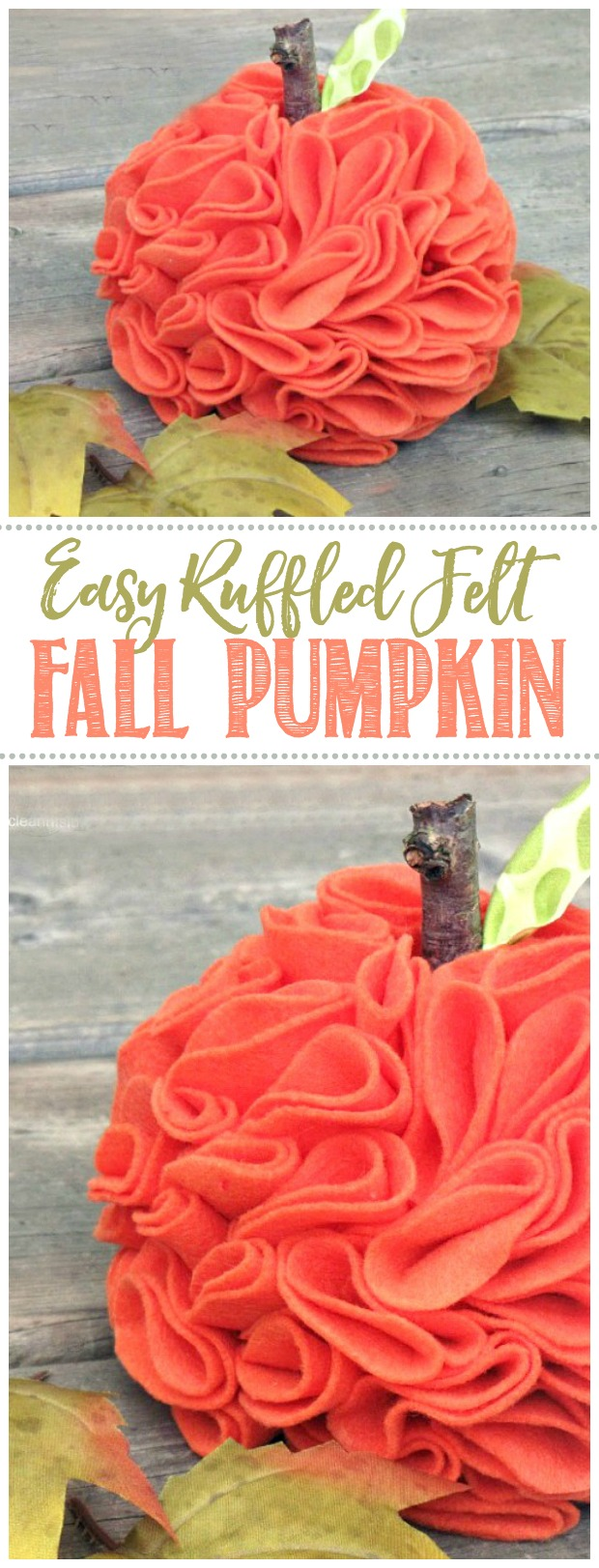 Cute ruffled pumpkin made from felt.