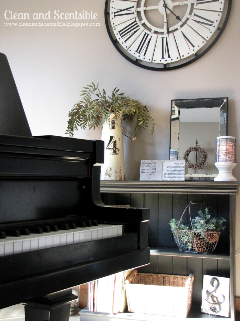 Decorating with a piano - My Favorite Part Of Decorating A Room Is Finding All Of The Accessories I Picked Up The No 4 Pitcher And The Baskets Hanging On The Back Wall With The