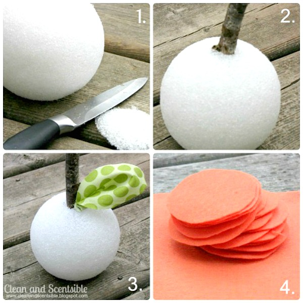 Tutorial steps to make a ruffled felt pumpkin.