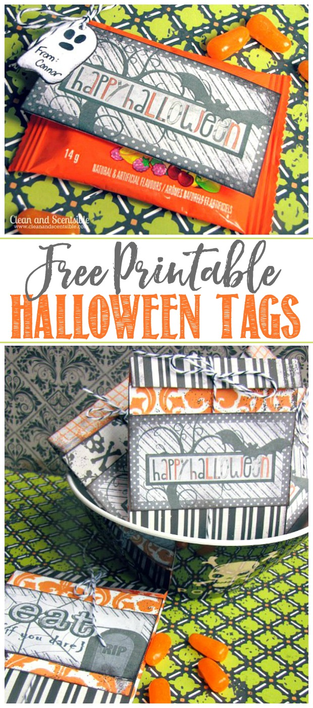 Free printable Halloween tags and two different ways to use them to customize store-bought Halloween candy for a cute Halloween treat!
