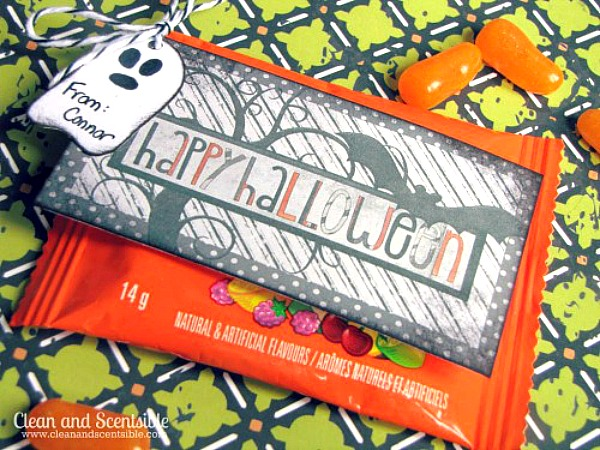 Free printable Halloween tags added to packaged Halloween candy for a fun and easy Halloween treat.