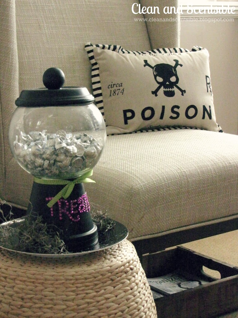 i stuck with more neutral decor this year mostly a black and white theme i made the treat container a couple of years ago the poison pillow was a new - Black And White Halloween Decor