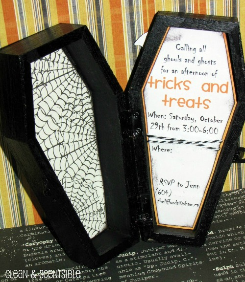 Tons of fun Halloween party ideas! These coffin invites are so cute!