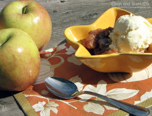 Delicious apple crisp made in the slow cooker!  Yummy! // cleanandscentsible.com