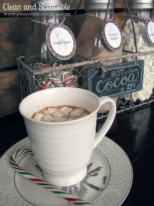 I love this candy cane hot cocoa bar!  So fun!