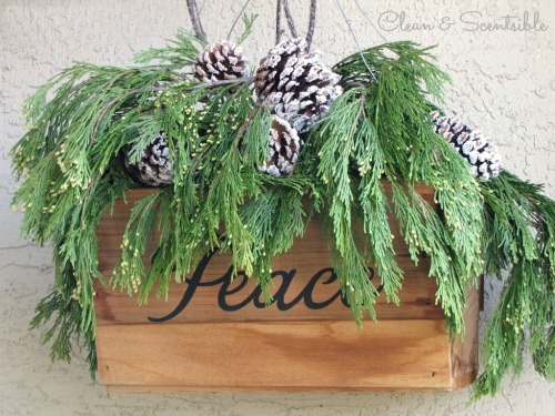Rustic Christmas Hanging Basket.  Love this!