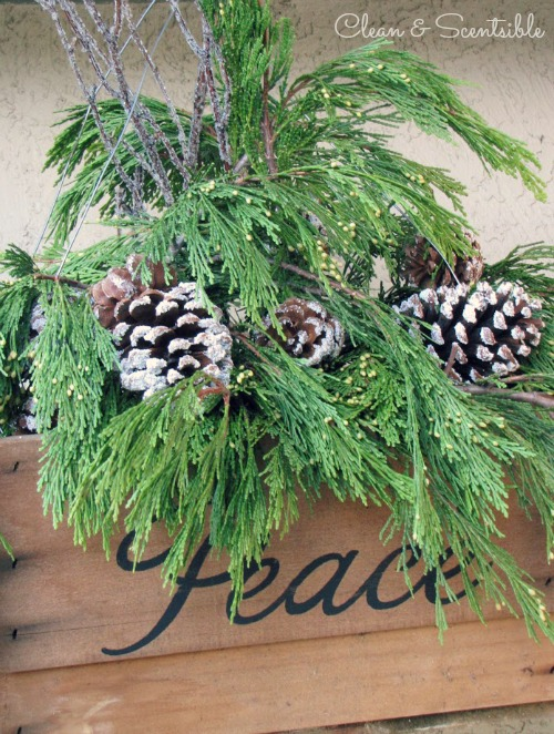 Rustic Hanging Christmas Basket.  Would look wonderful on the front porch!