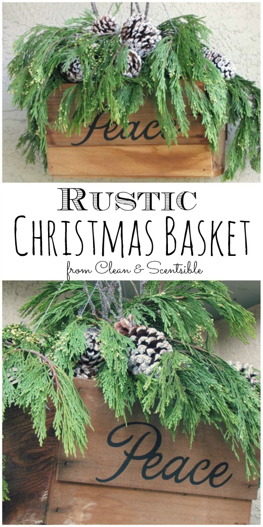 Rustic Hanging Christmas Basket.  Love this!