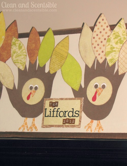 Cute Thanksgiviing turkey handprint family.  Get the whole family involved!