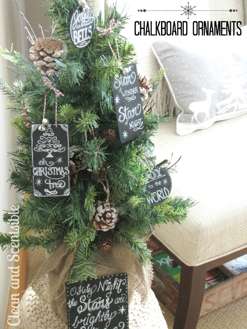 Chalkboard art Christmas ornaments.  Love this!