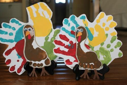 Handprint and footprints turkeys and other Thanksgiving handprint ideas.