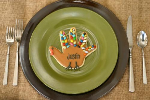 Turkey handprint cookies and other Thanksgiviing handprint ideas.