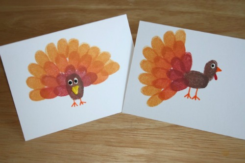 Thumb print turkeys and other Thanksgiving handprint ideas.