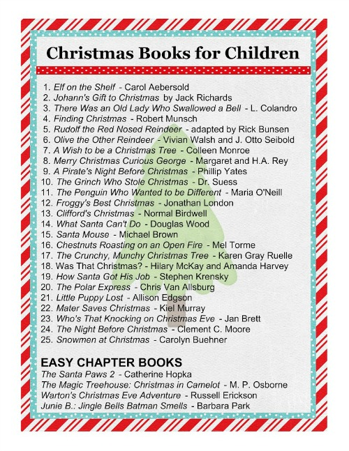 Christmas Book Advent - Wrap up your favorite Chritmas books and have your child unwrap one each night leading up to christmas.  Printable list of Christmas books included!