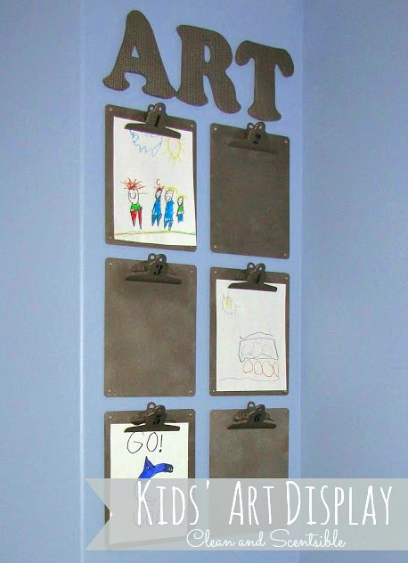 Easy and cute way to display kids' artwork! // cleanandscentsible.com