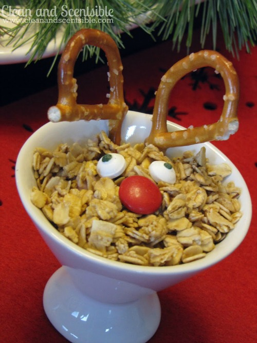 """Reindeer"" yogurt with granola.  Perfect for a kids' Christmas brunch!"