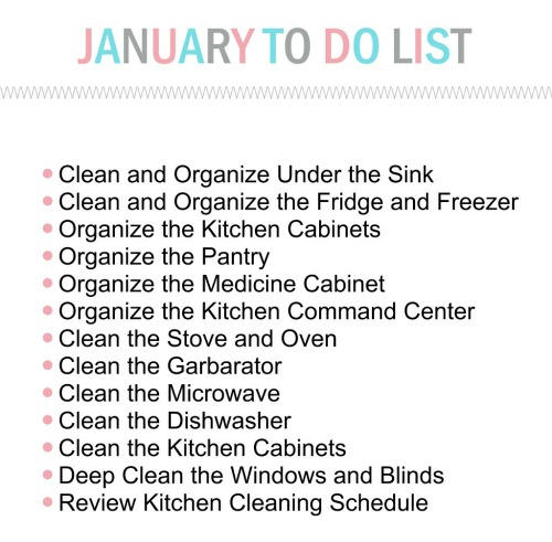 January To Do list for The Household Organization Diet