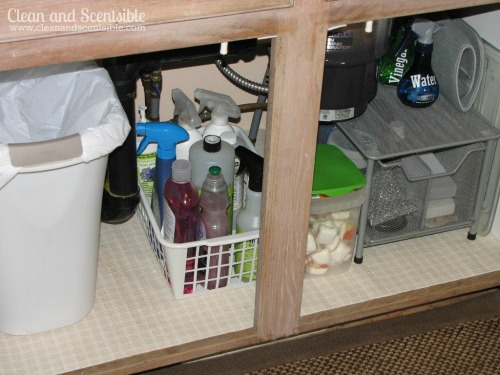 Great tips for how to organize under the kitchen sink.