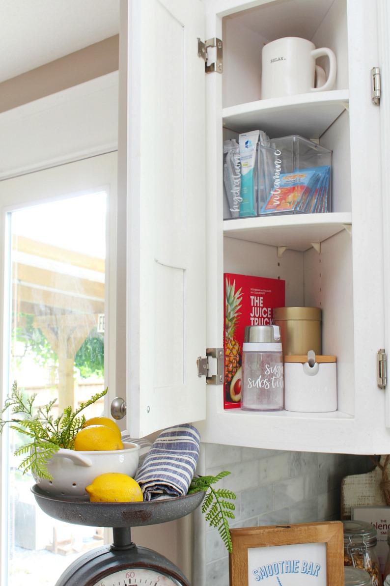 Kitchen cabinet organization of an awkward corner cupboard.