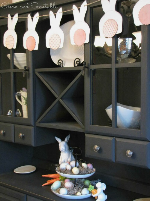 Cute Easter buffet and hutch.