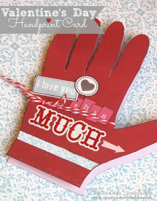 Sweet handprint Valentine's day photo card.