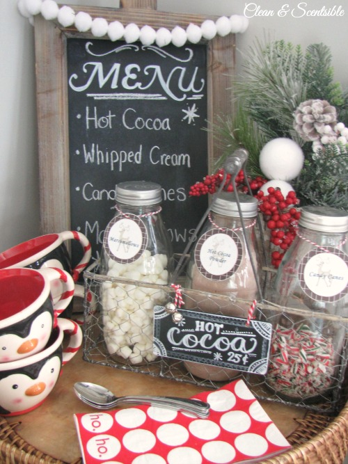 Candy Cane Hot Chocolate Bar using farmhouse bottles.