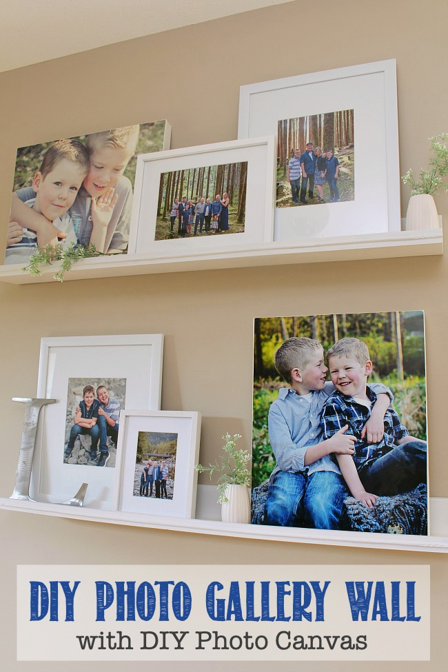 DIY Photo Gallery Wall using photo ledges and DIY photo canvases.