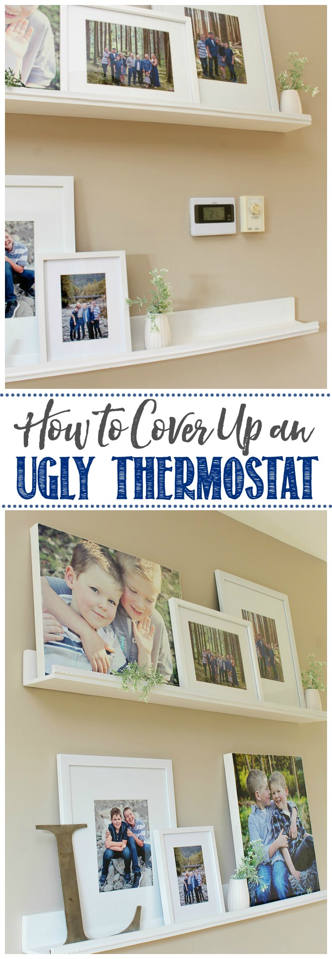 Before and after of a photo gallery used to cover an ugly thermostat.