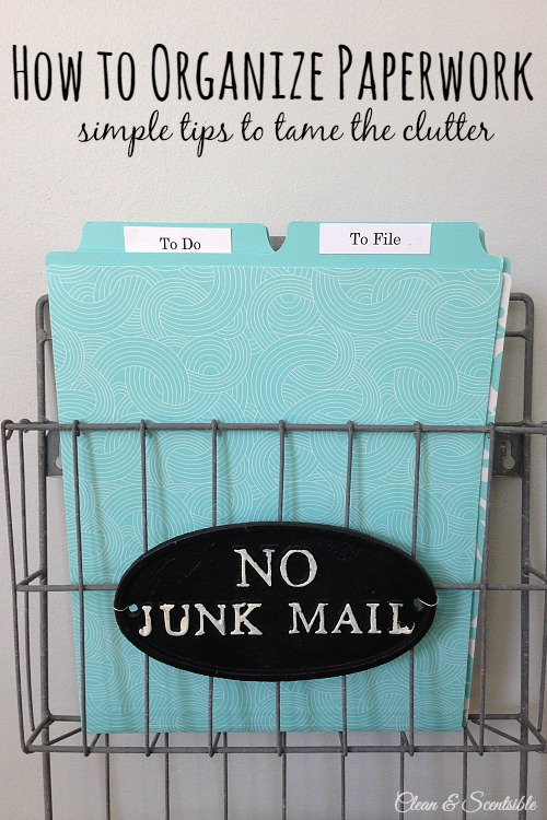 Great tips on how to organize paperwork.