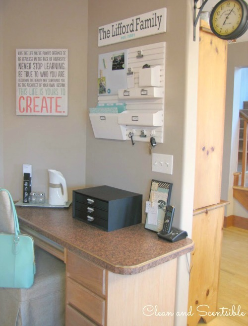 Creat a pretty and functional kitchen command center to keep all of that paper clutter organized!