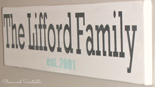 Personalized Family Sign for kitchen command center.