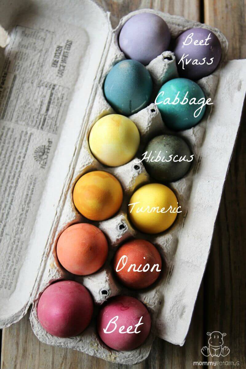 Easter eggs dyed with all natural food ingredients.