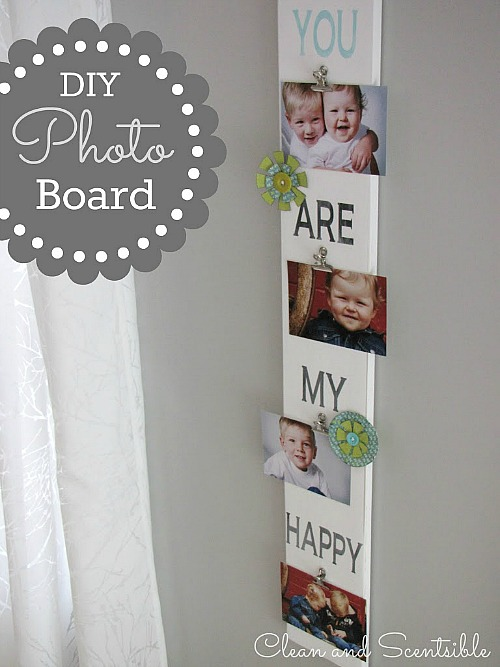 Easy DIY Photo Display Board.  Great gift idea!