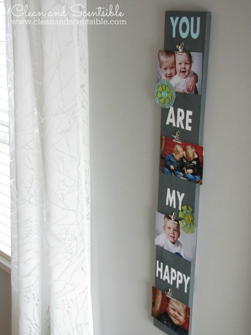Love this easy photo display board!  Could be customized for any holiday or special occasion. Perfect for Mother's Day!