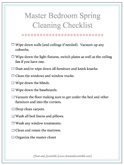 Master Bedroom Spring Cleaning Checklist from Clean and Scentsible.