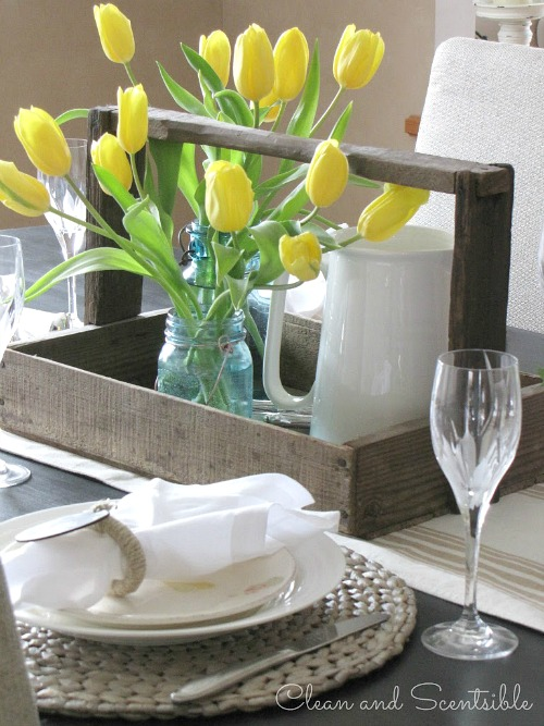 Pretty, rustic spring tablescape.