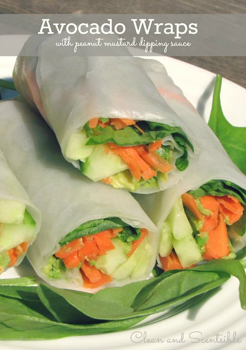 Avocado wraps with peanut dipping sauce.  Tasty AND healthy!