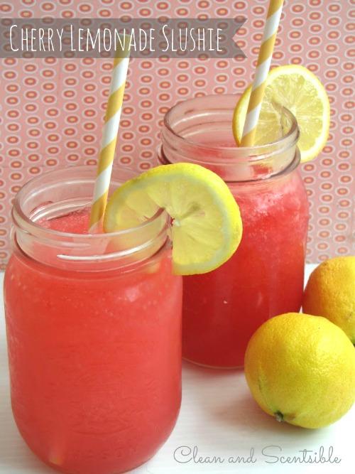 Cherry raspberry lemonade slushie - the perfect summer drink!