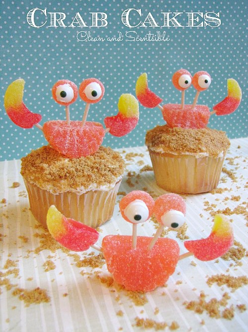Cute crab cupcakes with gummy crabs.