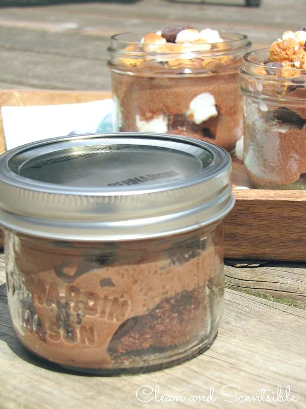 S'mores dessert in mason jars.