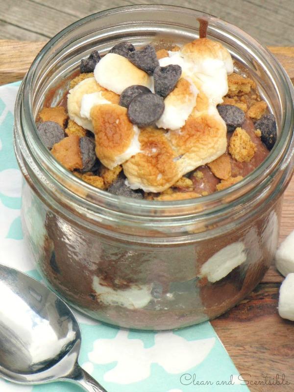 S'mores dessert in a mason jar.