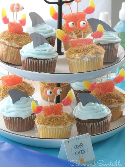 Lots of cute Under the Sea food ideas. Love the crab cupcakes!