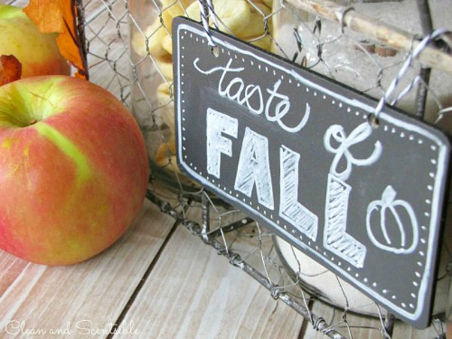 Taste of Fall chalkboard sign for an apple cider bar.