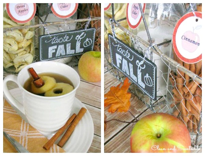 Apple Cider Bar with free printable labels. Add some dried apples and a cinnamon stick to a mug of hot apple cider.