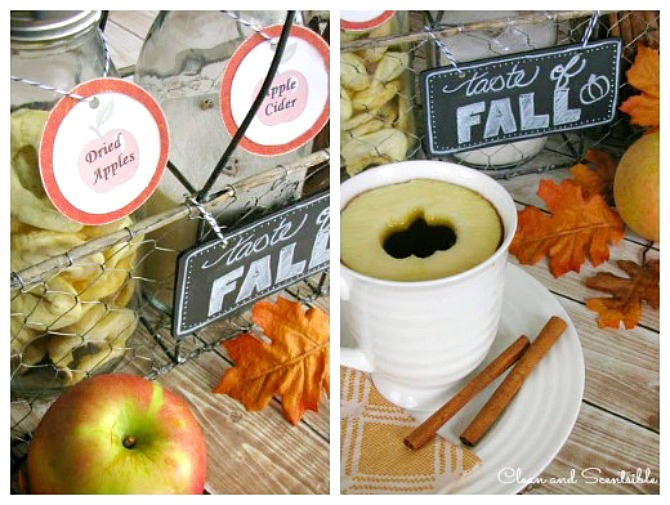 Apple cider bar with free printables. A mug of hot cider topped with a fresh apple slice.