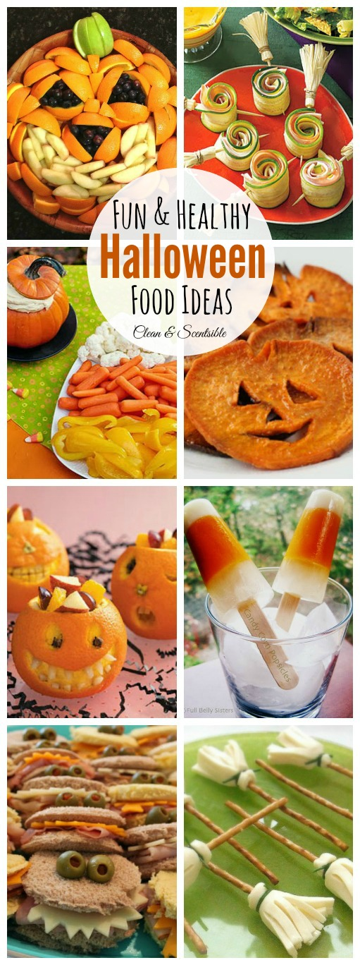 Collage of fun and healthy Halloween food ideas.