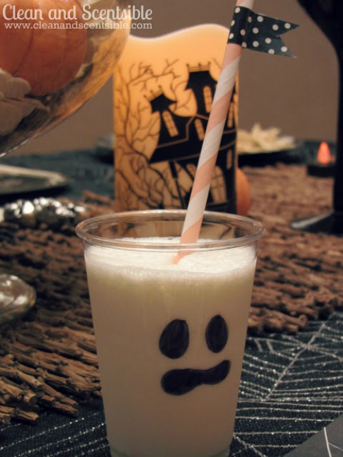 Ghost milk plus lots of other fun and healthy Halloween food ideas.