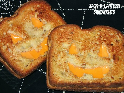 Jack-O-Lantern Grilled Cheese Sandwiches plus lots of other fun and healthy Halloween food ideas.  // via Clean and Scentsible